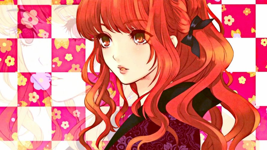 anime girls long hair redhead red eyes Japanese clothes wallpaper