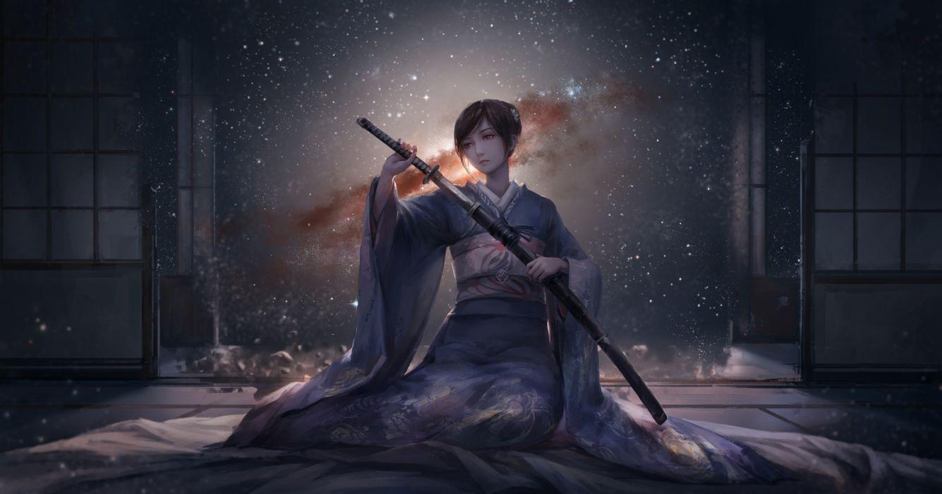 anime girls original characters kimono Japanese clothes katana sword short hair room wallpaper