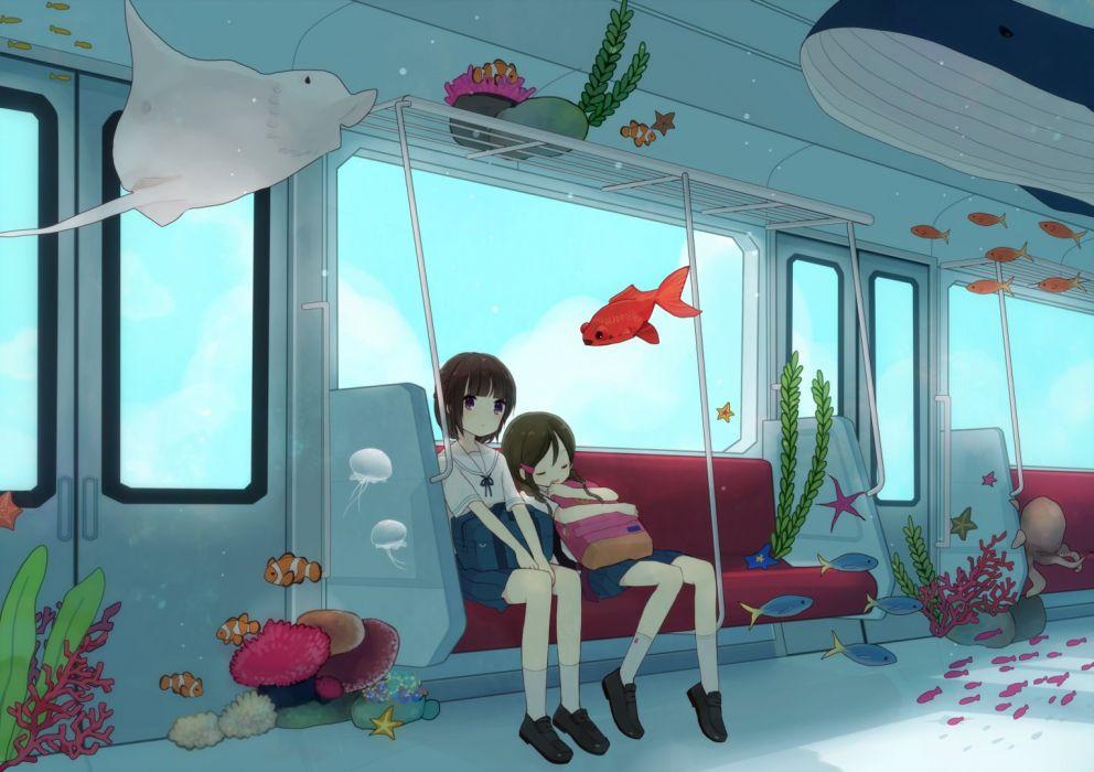 anime girls buses sea fish sleeping school uniform wallpaper