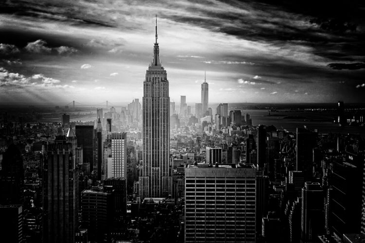 city black monochrome USA New York City cityscape wallpaper