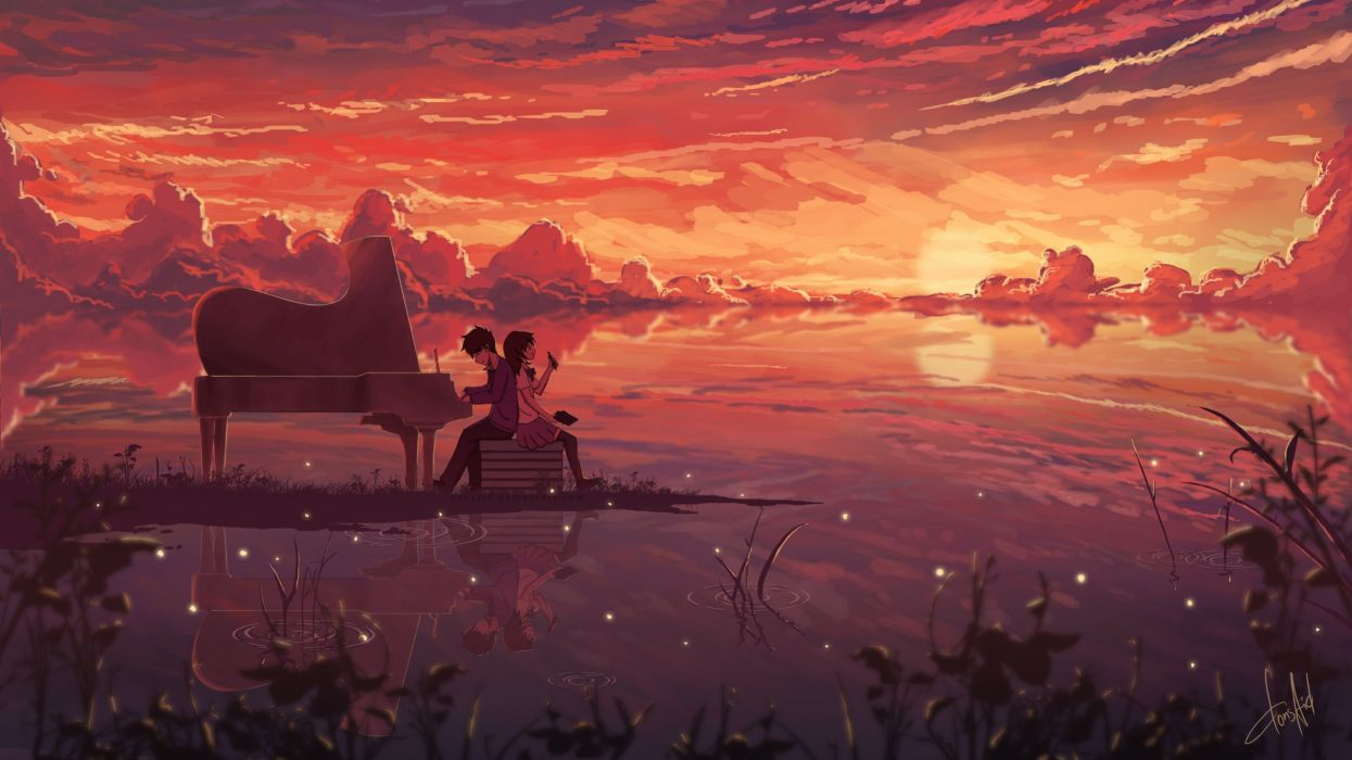 animes unset piano clouds anime boys anime girls skirt wallpaper