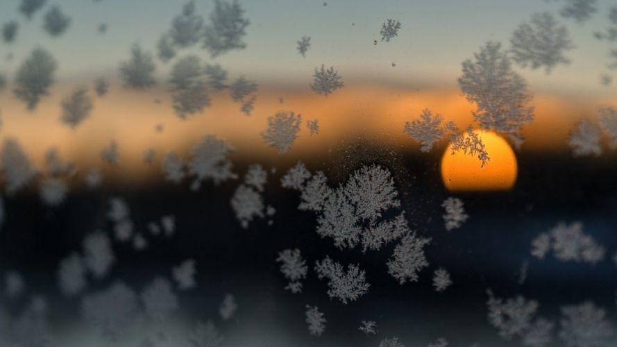nature Sun sunset glass winter snow flakes wallpaper