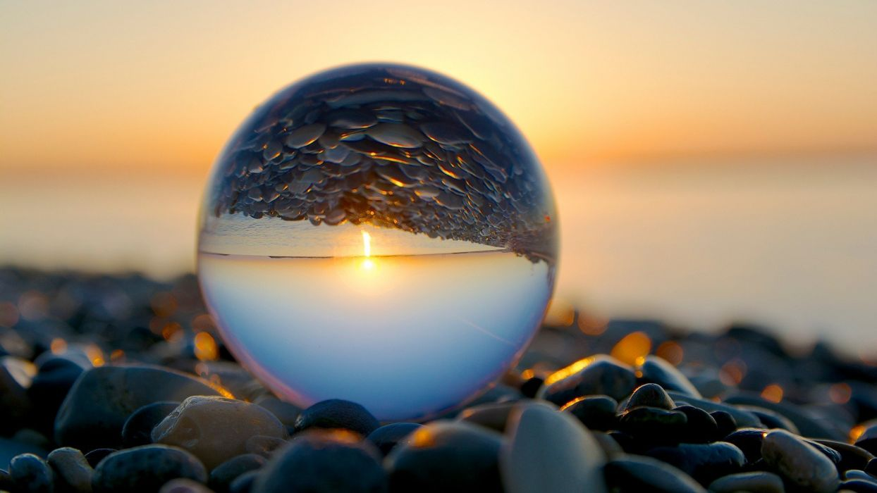 beach reflection marble pebbles wallpaper