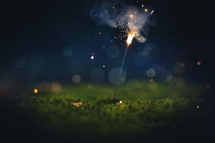 bokeh macro sparks sparkler fireworks lights wallpaper