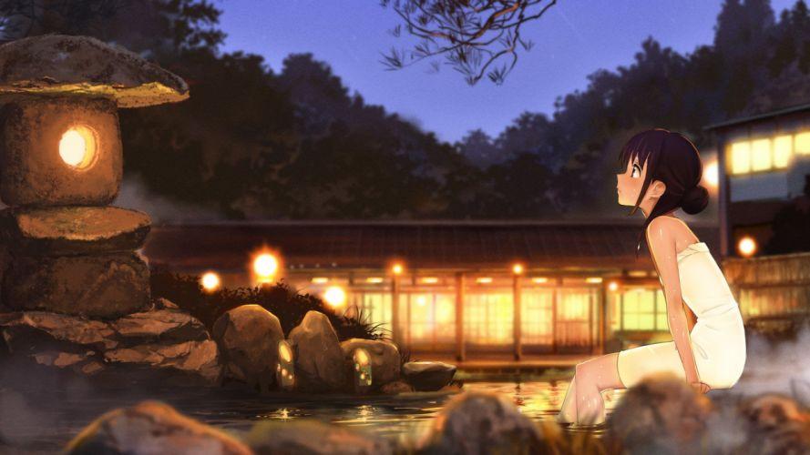 anime girls hot spring wallpaper