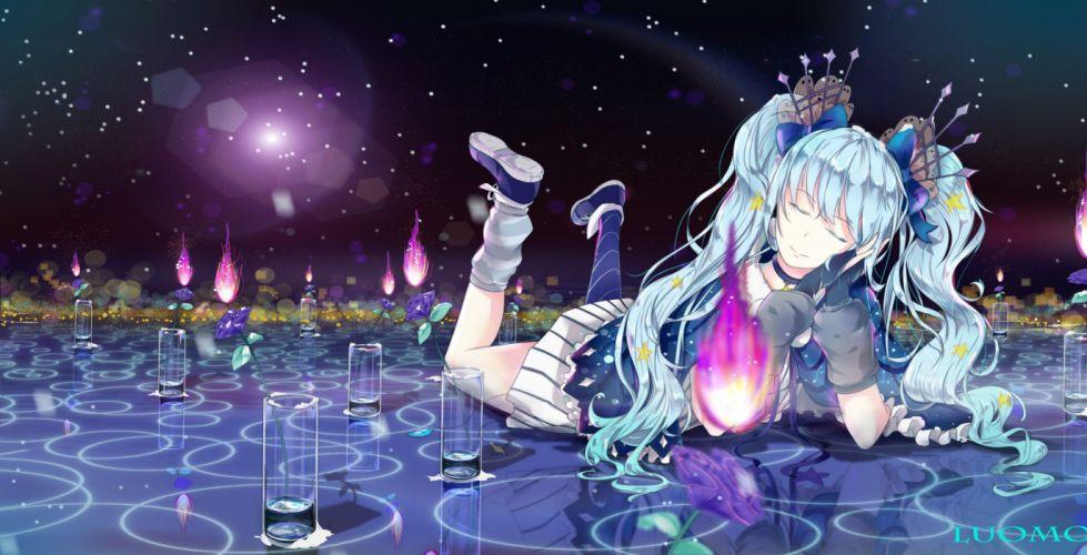 anime girls Vocaloid Hatsune Mikut wintails closed eyesa qua hair flowers wallpaper