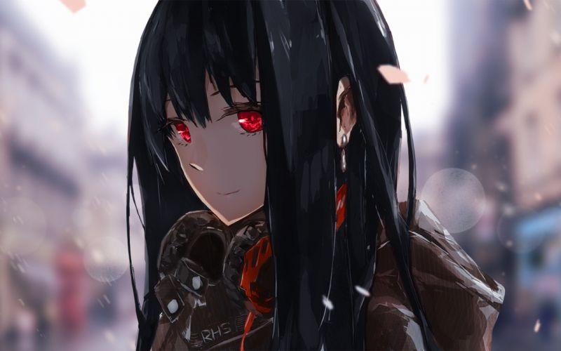 anime headphones red eyes black hair anime girls happy wallpaper