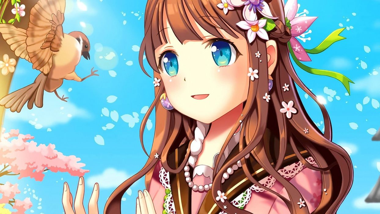 Birds cute anime girls long hair brunette blue eyes smiling open mouth dress japanese clothes wallpaper