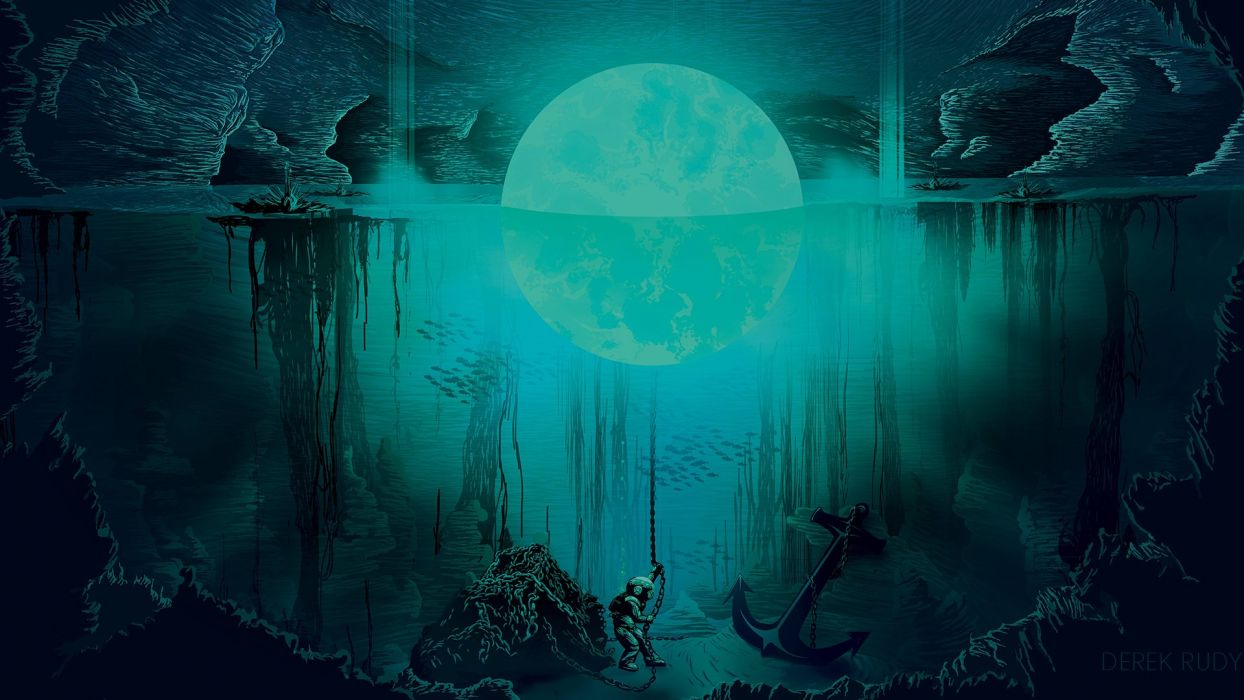 Derek Rudy Moon digital art blue sea underwater artwork divers wallpaper