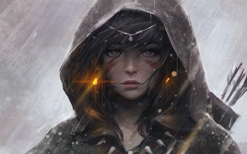 digital art anime girls fantasy art archer hoods bow and arrow original characters GUWEIZ wallpaper