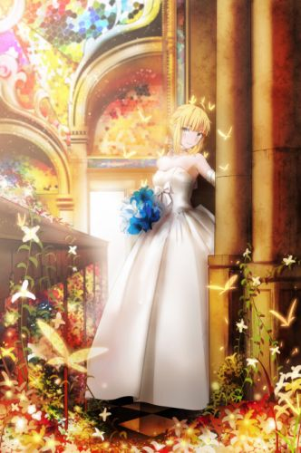 Fate Series Saber flowers wedding dress portrait display wallpaper