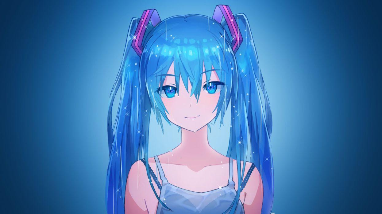 manga anime girls blue hair wallpaper