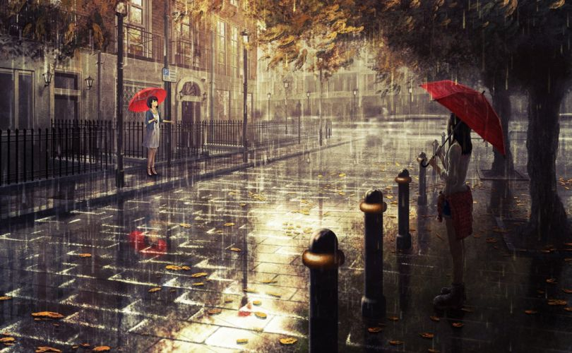 rain umbrella fall artwork original characters wallpaper