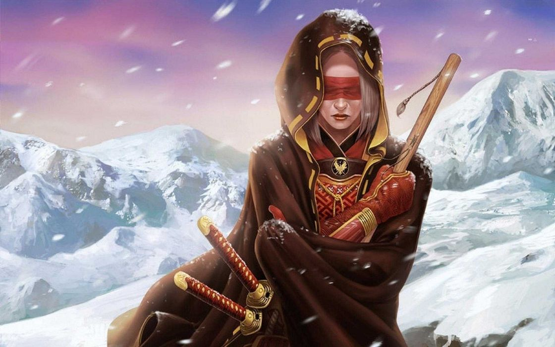 katana warrior snow wallpaper