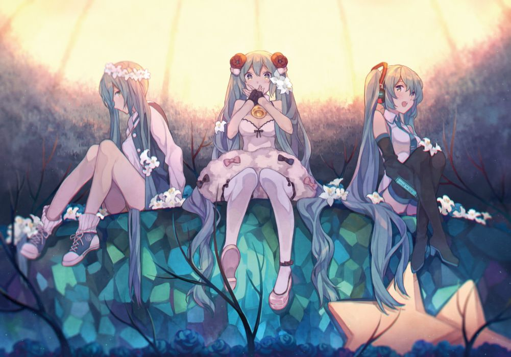 thigh-highs Vocaloid Hatsune Mikua nime girls wallpaper