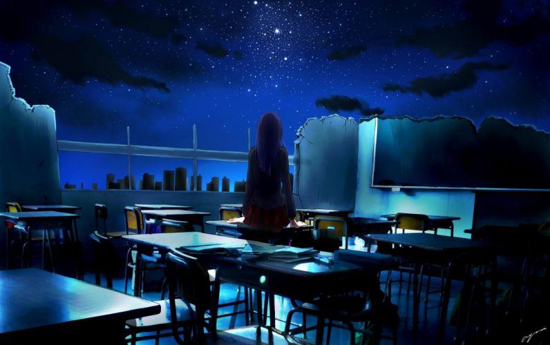 anime girl blue school uniform books building wallpaper
