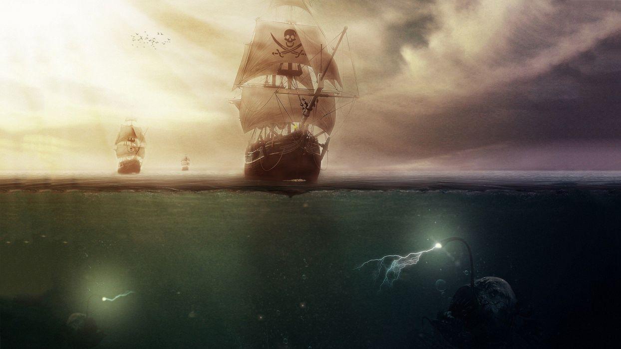 artwork sailing ship sea clouds pirates Anglerfish lightning wallpaper