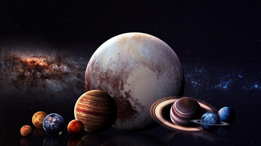 digital art space art planet space stars Solar System wallpaper