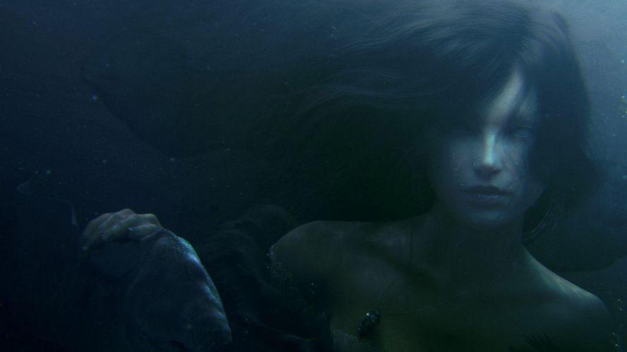 fantasy art underwater dark mermaids wallpaper