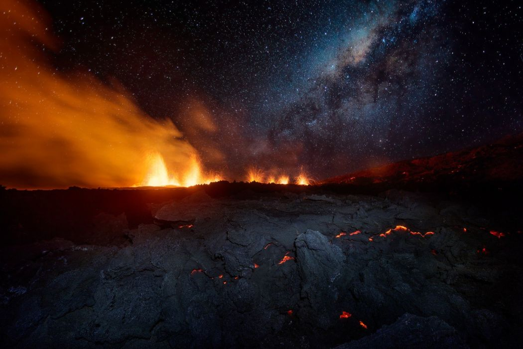 landscape volcano eruption sky lava wallpaper