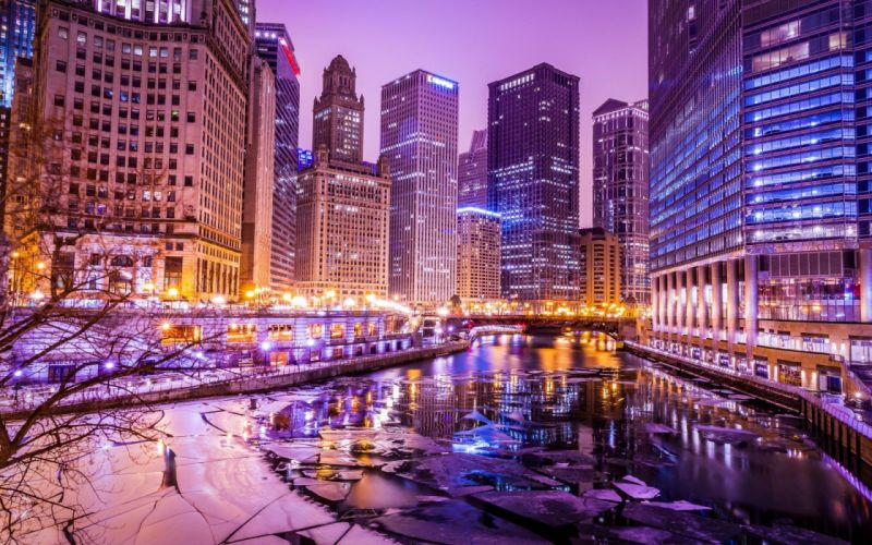 cityscape building HDR river ice lights Chicago wallpaper