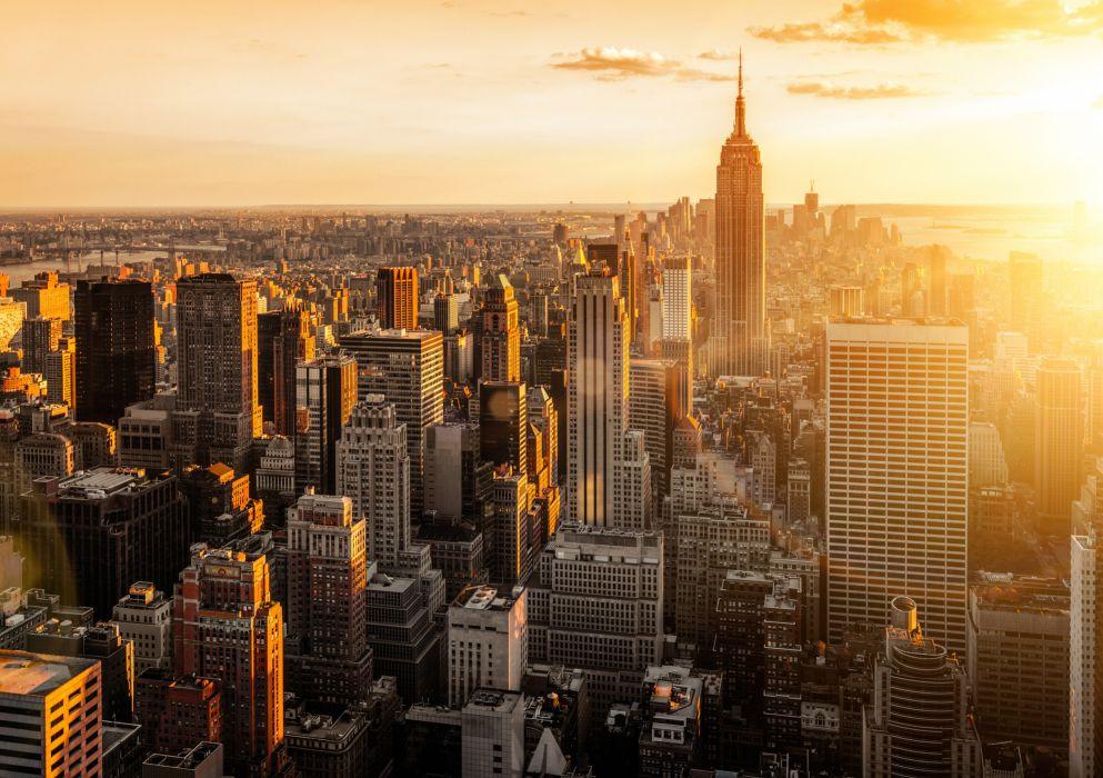 city scape sunset New York City Manhattan wallpaper