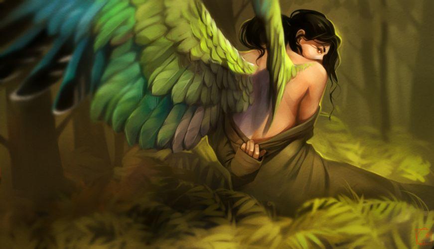 wings women topless green fantasy art wallpaper