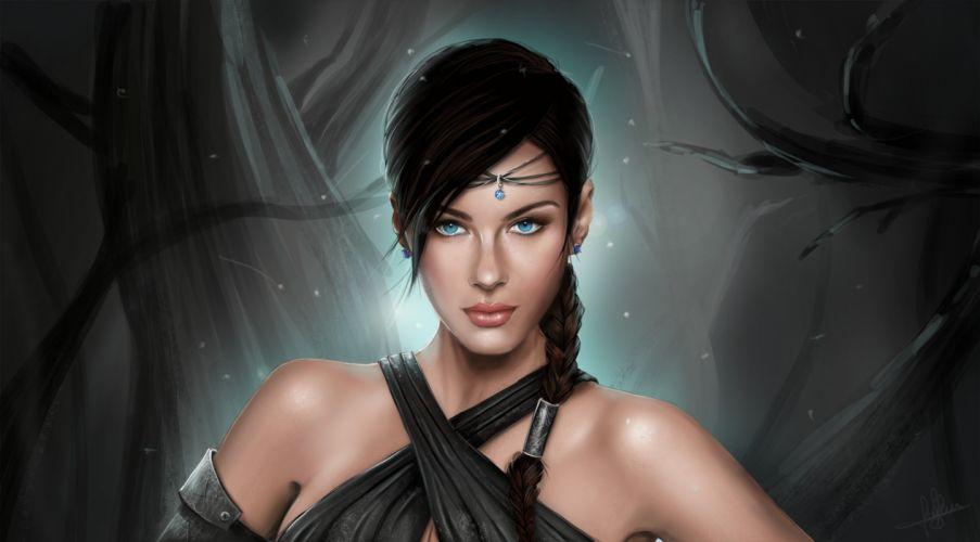 women brunette blue eyes princess bare shoulders artwork fantasy art wallpaper