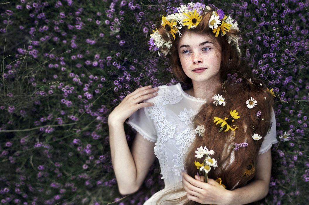 fantasy girl model women flowers long hair brunette blue eyes freckles face wallpaper