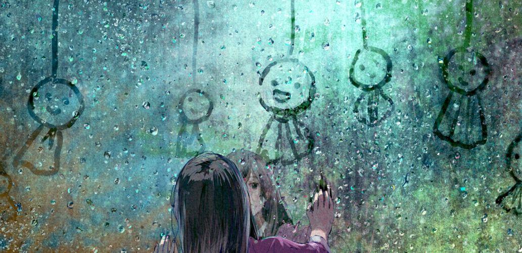 anime girls original characters rain black hair window wallpaper