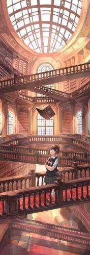 anime girl landscape book magic wallpaper