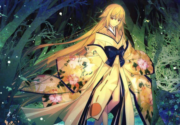 anime girls blonde red eyes long hair kimono wallpaper