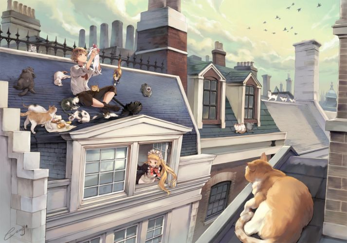 anime architecture rooftops cat wallpaper