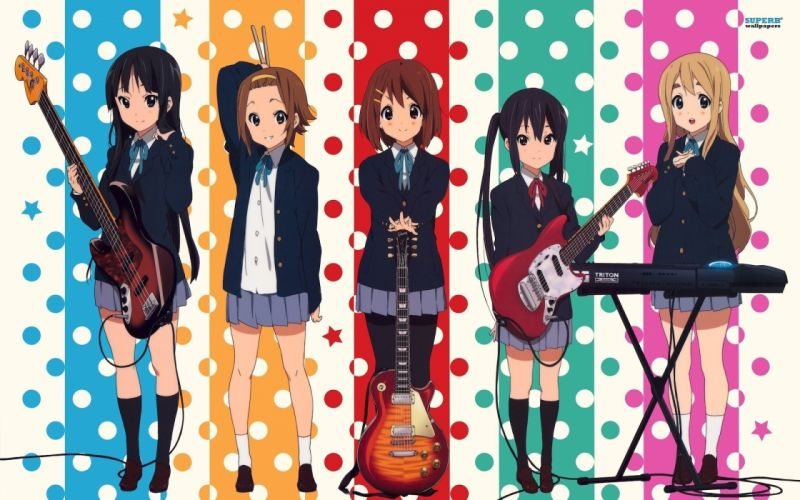 anime girls K-ON! school girl music group wallpaper