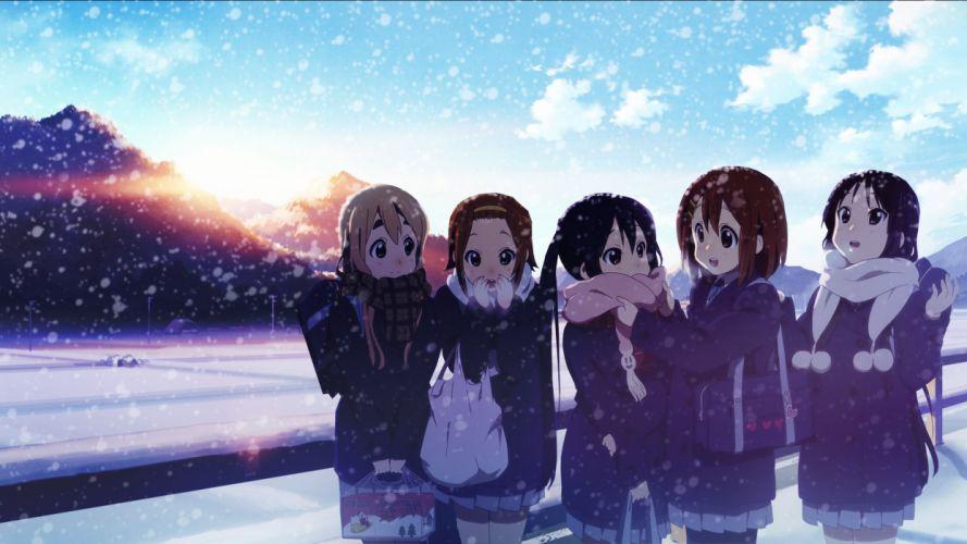 anime girls K-ON! school girl winter snow wallpaper