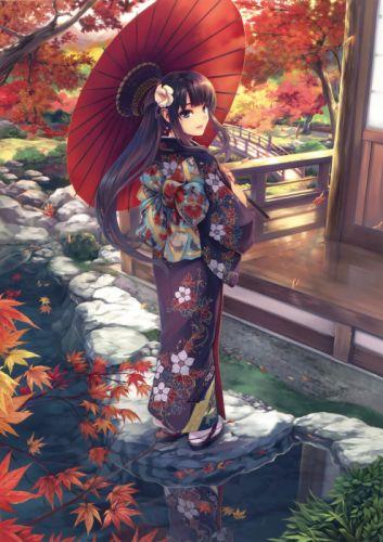 anime kimono autumn anime girl beautiful cute dress flower wallpaper