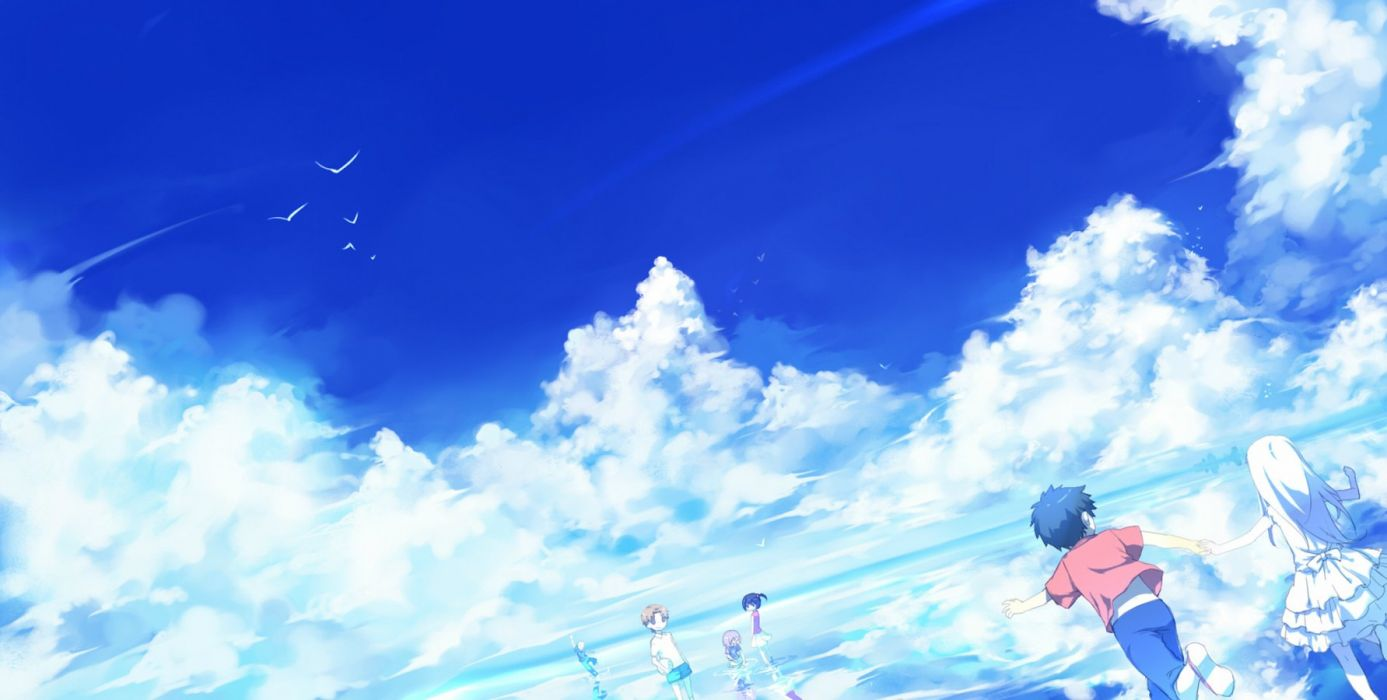 anime group child sky louds happy wallpaper