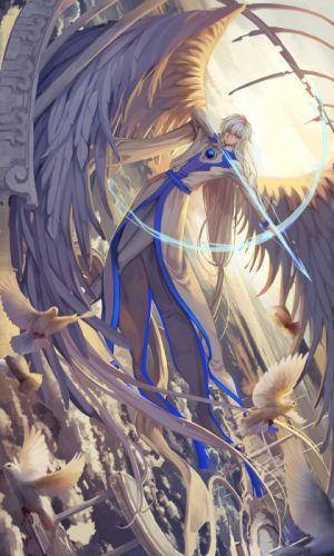 card captor sakura male sword wings wallpaper