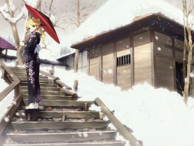 anime girls traditional clothing Sayonara Zetsubou Sensei wallpaper