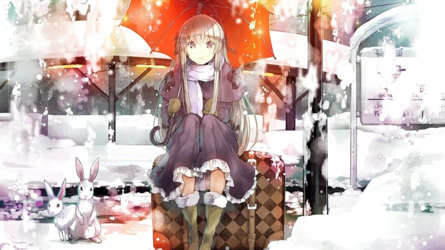 anime girls long hair blonde umbrella winter cold wallpaper