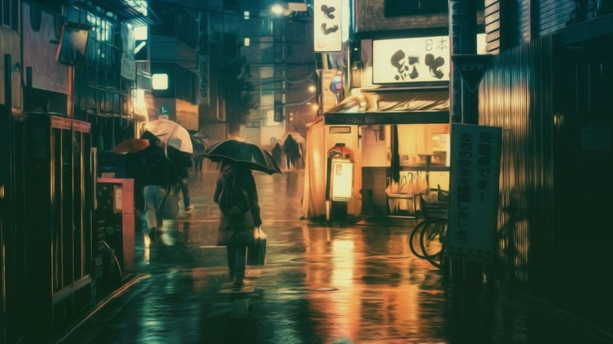Masashi Wakui photography photo manipulation umbrella neon lights girl wallpaper