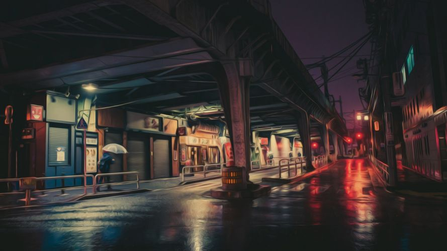 Masashi Wakui photography photo manipulation neon lights night wallpaper
