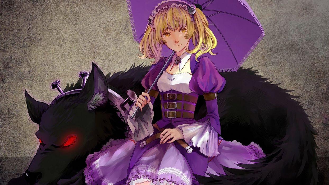 anime girls blonde short hair smiling umbrella wallpaper