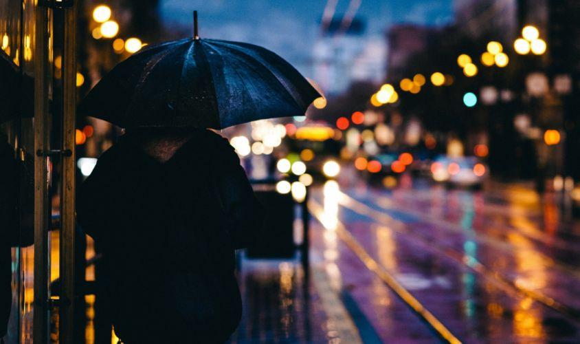 city rain umbrella street light mood city wallpaper