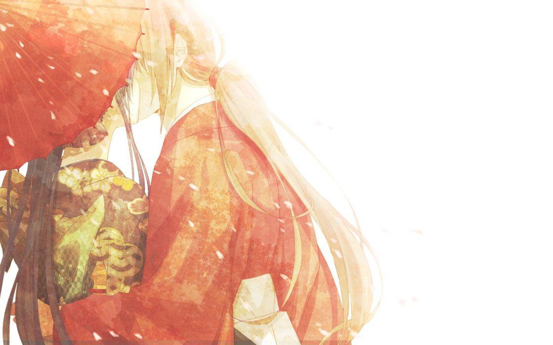 anime traditional clothing kissing umbrella Rurouni Kenshin wallpaper