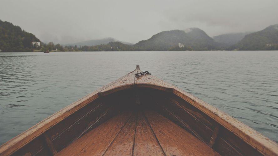boat landscape lake wallpaper