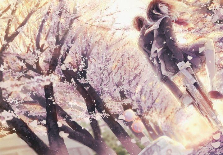 cherry blossom school uniform original characters bicycle anime girls wallpaper