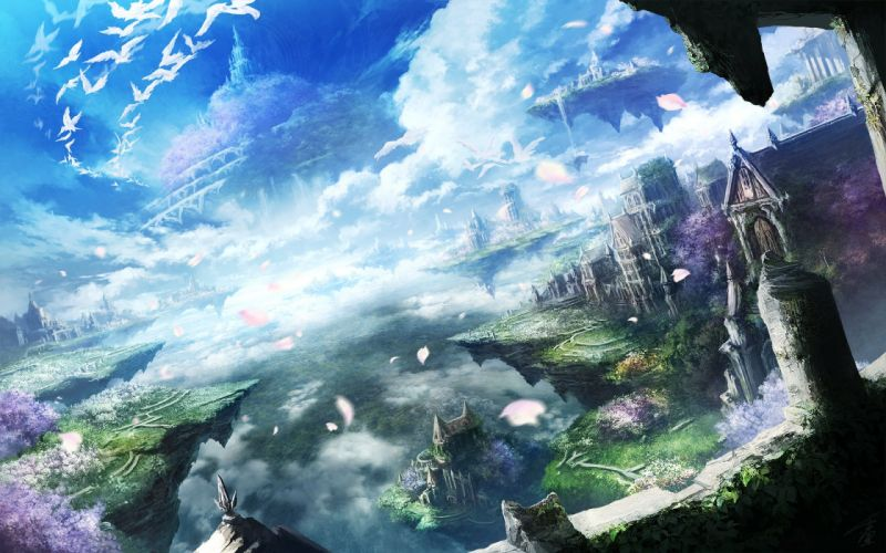 landscape anime sky wallpaper