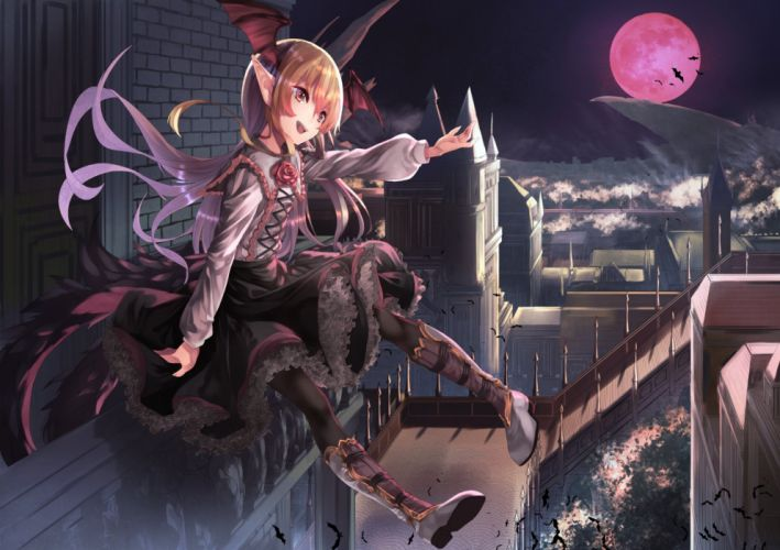 dress anime city moon wings wallpaper