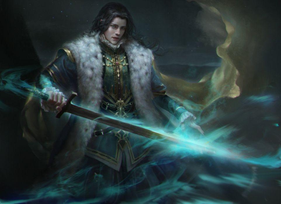 Fantasy magic male sword wallpaper